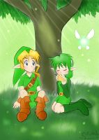 Link and Saria under a tree by Kurumi90