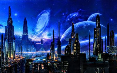 Futuristic city and blue space scenery beyond by ROGUE-RATTLESNAKE