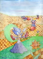 WaterColors: Sonic Classic01 by amyrose7