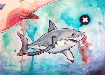 Watercolor Shark by sanjota