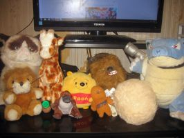 My desk stuffed animals by Motion-Music