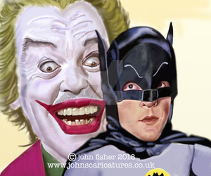 Batman And Joker..Adam West and Cesar Romero.. by johnscaricatures