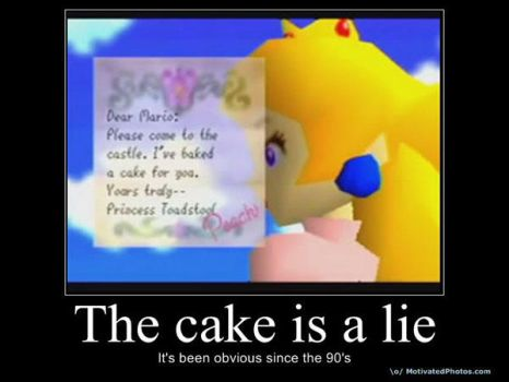 Mario Cake is a Lie by Cookietotheminimum