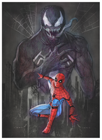 Spider-man and Venom by superegomark