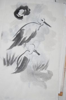 Sumi-e Herons under the moon by xtolord