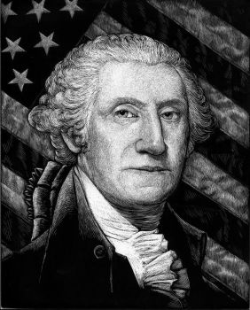 George Washington and American Flag - scratchboard by RustyScratchy