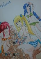 Fairy Tail girls on beach  by Mirza91