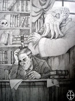 Cthulu and Lovecraft by Gengiskahn