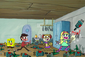 The Battle of The Plankbots in The Krusty Krab by K9X-Toons