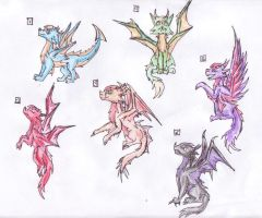 Dragon-wolf adoptables by dolphin4dreamer