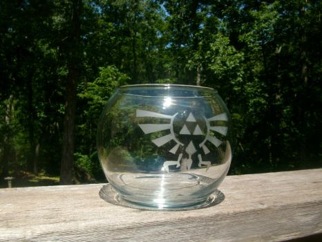 LoZ Royal-Hylian Crest Glass Candle Bowl Thing by ZombieBunnySlaya