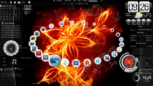 My 'Burning Beauty' (Rainmeter) Desktop by ShadowPheonix360