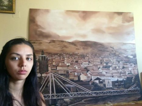 Selfie with my painting of my home town, Veles by AleksandarskiArt