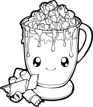 Dessertie | Hot Chocolate Lineart by Chibivi-Linearts