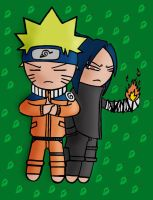 Chibi Naru and Sasuke -Color- by Fogokhost