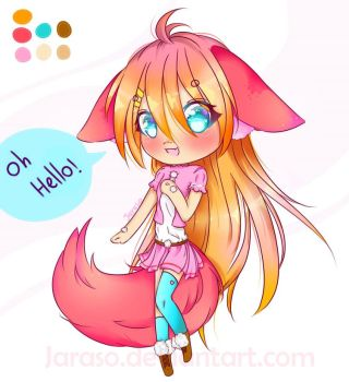 Adoptable - Fluffy Fox Girl [Offer] by Jaraso