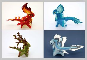 Four Elements dragons by hontor