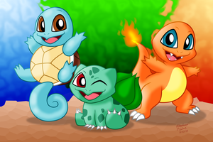Kanto Starters (Squirtle Bulbasaur Charmander) by AleximusPrime
