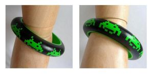 polymer clay Space Invaders bangle by OriginalBunny