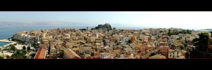 Panorama Of The City Corfu - Greek Island Corfu by skarzynscy