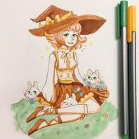 First day of Spring! Witch Illustration by pomifumi
