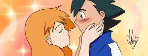 Pokeshipping kiss by Marsy3
