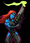 MEAN BLUE LADY WITH A GUN by Sabrerine911