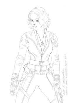 black widow line art by artbydarryl