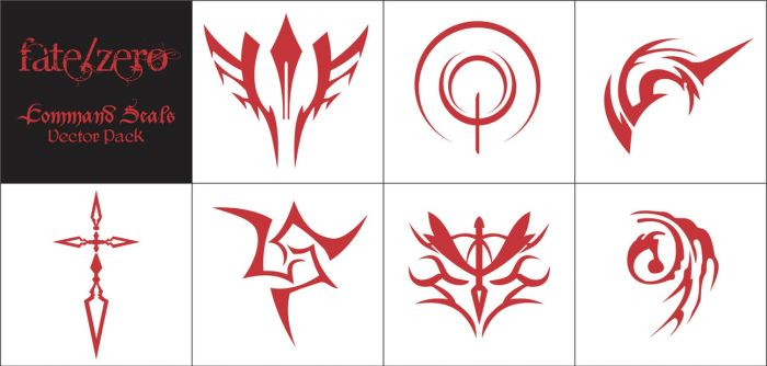 Fate/Zero Command Seals - Vector Pack by tseon