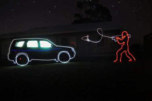 Light Painting Fun: Car vs. Rocket by SCARECROW1138