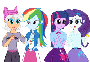 Equestria Girls Rouge, Rainbow,Rarity, Twilight by MergedZamasuVA