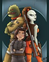 Bossk, Boba Fett and Aurra Sing by TerribleToadQueen