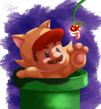 Cat mario by Poofboo