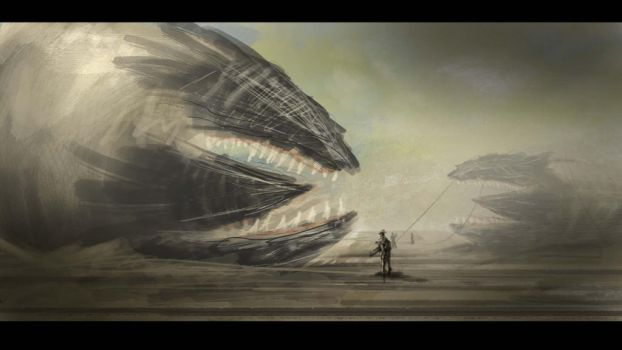 Daily Spitpaint 6: Topic: Sandworms by RawConceptz