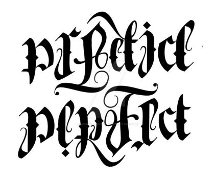New Practice/Perfect Ambigram by Weegraphicsman
