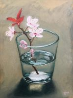 Cherry Blossom in a Glass by justanothercreator
