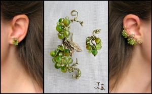 Green berries ear cuff and stud by JuliaKotreJewelry