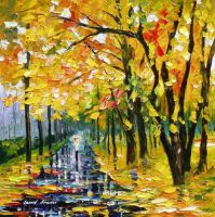 Long Autumn by Leonid Afremov by Leonidafremov
