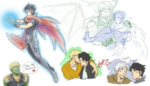 Young Avengers - Hulkling + Wiccan doodles 2 by msloveless