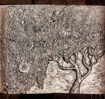 Zentangle pattern tree drawing by NikitaGrabovskiy