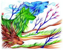 .:Wolves of Earth and Sky:. by FallenAngelWolf13