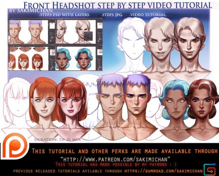 Front portriat steps tutorial pack.promo. by sakimichan
