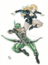 Green arrow and black canary commission in color by Dogsupreme