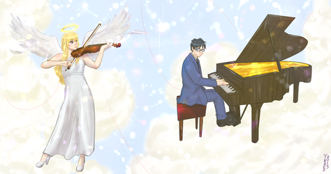 Kaori and Kousei commission heavenly twist by Ynnep