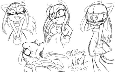 Valri Cat Emotion Sketches #1 by MaD4PLaiD