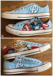 Thor, Captain America custom hand painted shoes by Beffana
