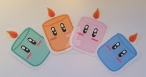 Kawaii Candle stickers! by Colorful-Kaiya