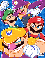 Mario Bros. and the Mario Clones by Kaigetsudo