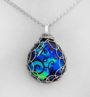 Blue and Green Wrapped Pendant by HoneyCatJewelry