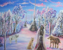 Medicine Woman with Wolves in Winter by Marybriannemckay
